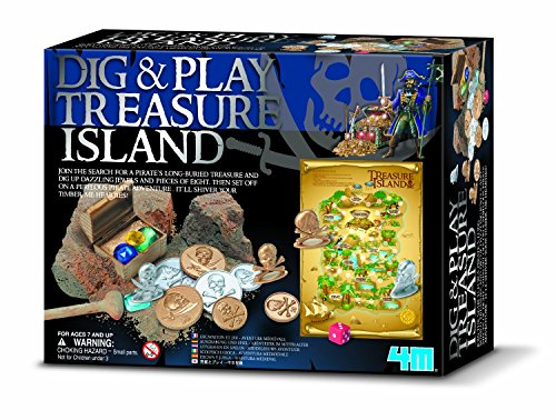 Dig and Play Treasure Island Game with Plaster Block with Buried Treasures & More Fun