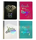 Pen + Gear 4-Pack Poly Composition Notebook, 9-3/4'' x 7-1/2'', Wide Ruled, 80 Sheet Jewel Tone Metallic Girly Set; Fuschia Pink, Teal Blue, Black, White