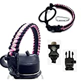 Paracord Handle with Carabiner,Sports Bottle Strap for Hydro Flask Wide Mouth,Inculde Survival Buckle with Knife,Compass,Fire Starter,Whistle (Pink/black-3pcs set)