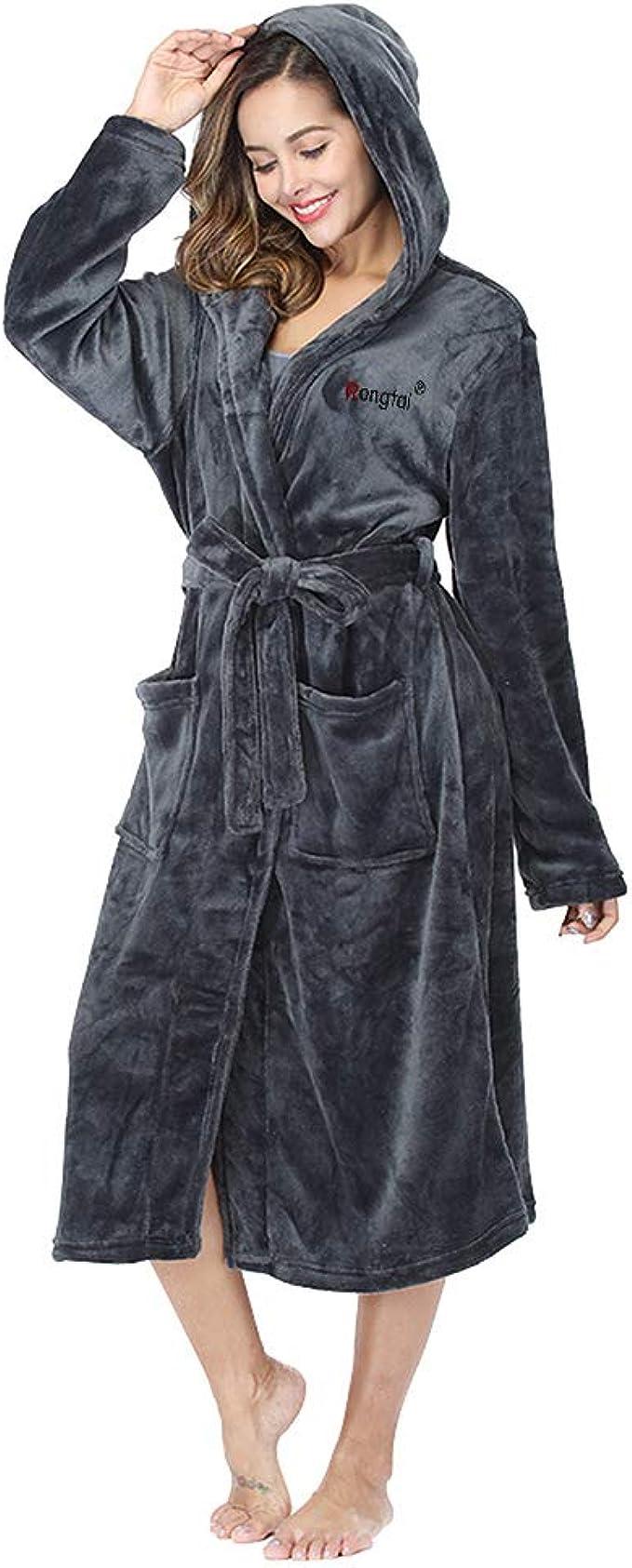 RONGTAI Fleece Robes for Women Plush Soft Warm Long Bathrobe with Pockets
