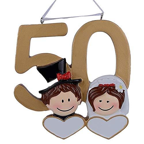 MAXORA 50th Anniversary Christmas Personalized Ornament Handmade Customized Couple's Golden Jubilee Free Customization]()