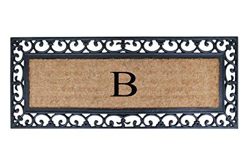 First Impression Exclusive Hand Crafted Myla Monogrammed Entry Doormat, Large Double Door Size (17.7 x 47.25)-RC2004B (Monogrammed Mat Door)