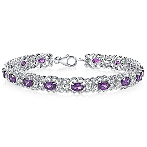 Amethyst-Bracelet-Sterling-Silver-600-Carats-Vintage-Design