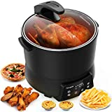 Homgeek Air Fryer, 9.5Qt Electric Hot Air Fryers Healthy Power Air Fryer Oven Oilless Cooker for Air Frying, Roasting and Reheating, Glass Viewing Window, Double Layer & Touch Screen, Deluxe Nonstick Accessory Kit