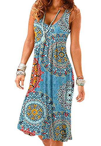Akihoo Womens Long Summer Flowy Sexy Sleeveless Casual Floral Gown Maxi Pleated Dress YH-Navy Blue - Halter Print Gown