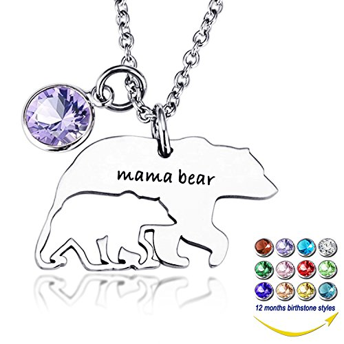 Birthstone Bear (YOUFENG Mom Necklace Mothers Day Gifts Mama Bear Necklaces Pendant 12 Months Birthstone Jewelry for Women Girls (February birthstone))