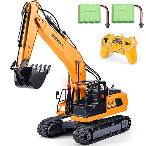 DOUBLE  E 17 Channel RC Truck 1/16 Remote Control Excavator Tractor with 2 Batteries Simulated Head Lights and ()