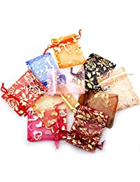 Febelle 50PCS Sheer Organza Jewelry Gift Pouch Bags 7x9cm Random Color