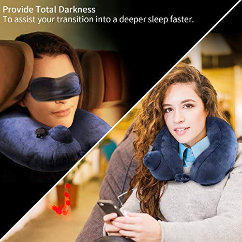 Morpilot Travel Pillow Velvet Inflatable Neck Pillow for Camping, Hiking, Backpacking Night Sleep and Car Airplane Lumbar Support with Eye Mask and Earplugs