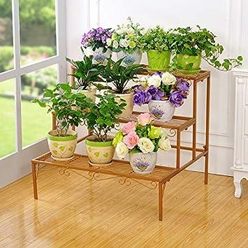 Soporte de flores de hierro forjado, escalera rectangular de tres capas, modelo de hierro, estante para