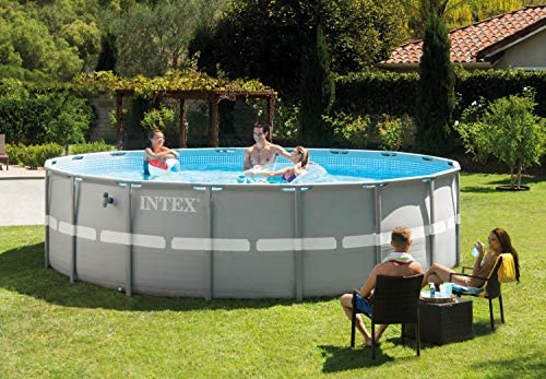 Intex Piscina sobre Suelo Frame Pool Set Ultra Rondo, Gris, Ø 488 ...