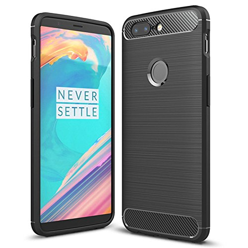 Oneplus 5T Case, MicroP Soft TPU Brushed Anti-fingerprint Full-body Protective Phone Case Cover For Oneplus 5T (Black Brushed TPU)