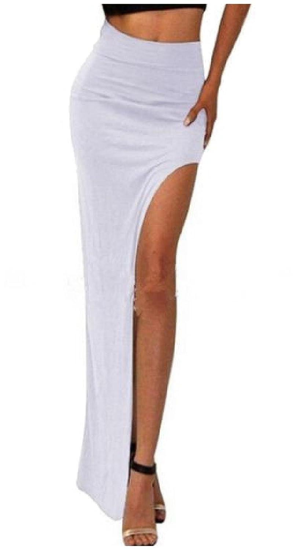 df31742d2da7 80%OFF Mascoo Women s Elastic Solid Color Side Silt Modern Elegant Maxi  Skirt White S