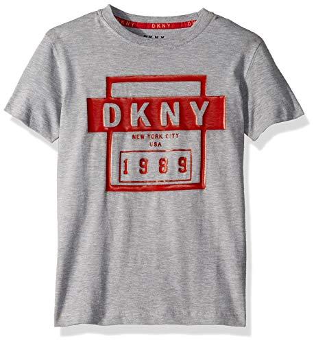 DKNY Boys' Little Short Sleeve Fashion T-Shirt, Classic Front Heather Light, ()