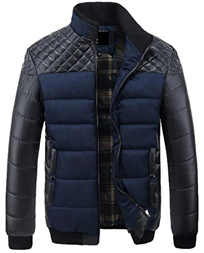 Blue Patchwork TTYLLMAO tone Two Coat Down Stand Collar Quilted Pu Men p7qCwU