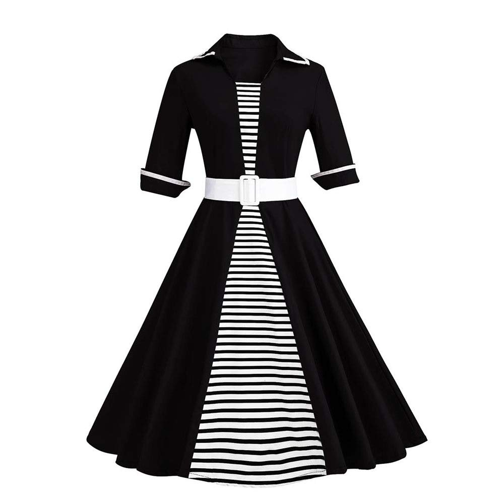 Black Sylviaan YY6 Women's Lapel Neck Short Sleeve Retro Stripe Swing Dress with Belt