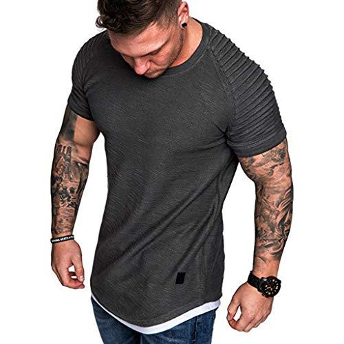 (GDJGTA Tops for Mens Summer Solid Color Pleats Slim Fit Raglan Short Sleeve Pattern Top Blouse Gray)