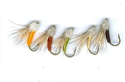 6 Streaking Caddis Trout Flies Hook Size 10//12 Fishing flies