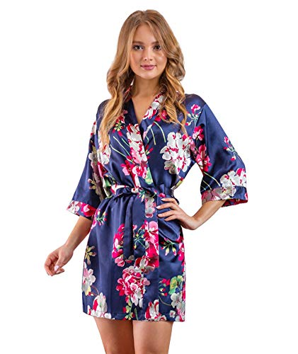 Bella Bride Women's Bridesmaid Satin Kimono Robe (Navy Print, L/XL)