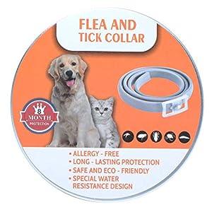 Poweka Collar Antiparasitos Perros y Gatos contra Pulgas Garrapatas y Mosquitos, Tamaño Ajustable e Impermeable 63.5cm para Mascotas