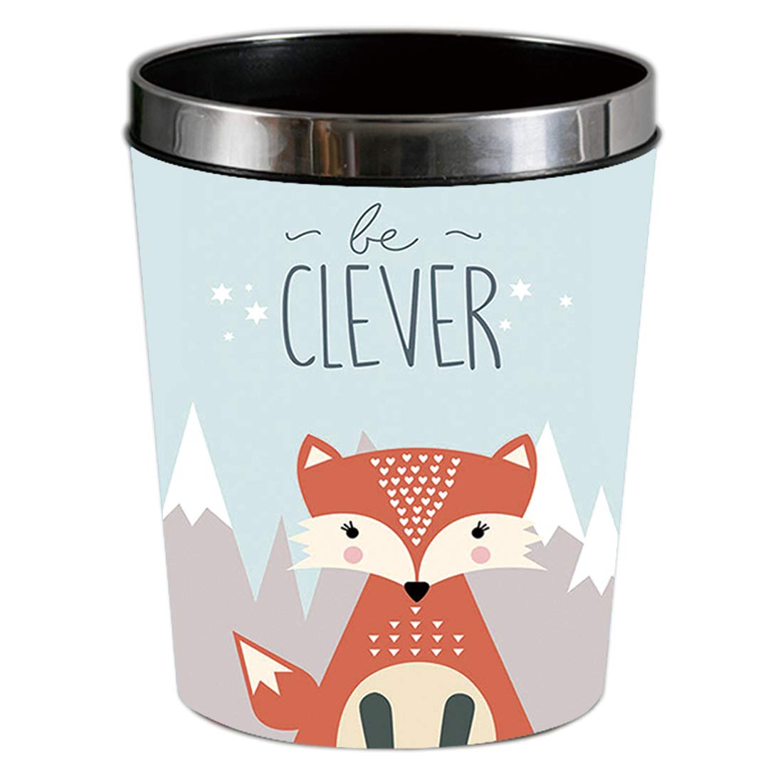OVERWELL Waterproof Waste Paper Bin Kitchen and Office 25 x 19,5 x 31,5CM 12L Waste Paper Basket with Pressing Ring for Bedroom Bear