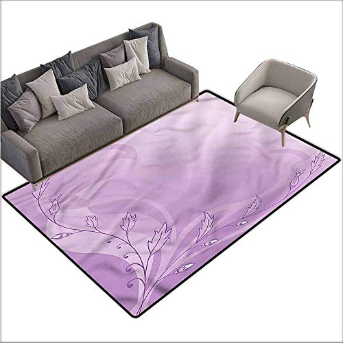 Large Floor Mats for Living Room Colorful Mauve,Blossoming Sprouts Swirls 60