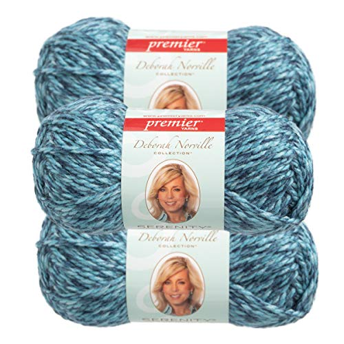 - Premier Yarns (3 Pack Deborah Norville Serenity 100% Acrylic Soft Sky Heather Dark Blue Light Blue Yarn for Knitting Crocheting Chunky #5