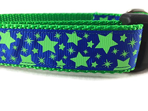 Large 15-22\ Stars Dog Collar, Caninedesign, Pink, bluee, Glow In The Dark, 1 inch wide, adjustable, quick release, medium and large (bluee Green, Large 15-22 )
