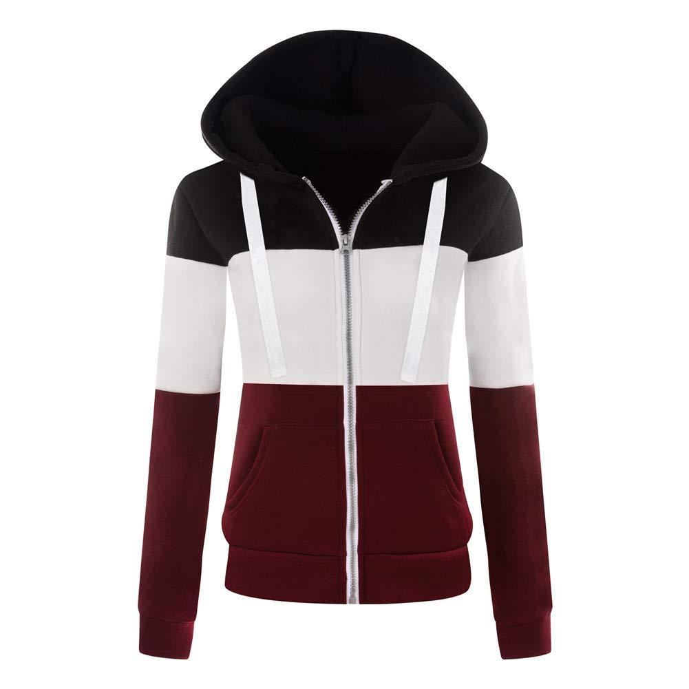 Newbestyle Jacke Damen Sweatjacke Hoodie Sweatshirt Pullover Oberteile Kapuzenpullover V Ausschnitt Patchwork Pulli mit Kordel und Zip F1801114R