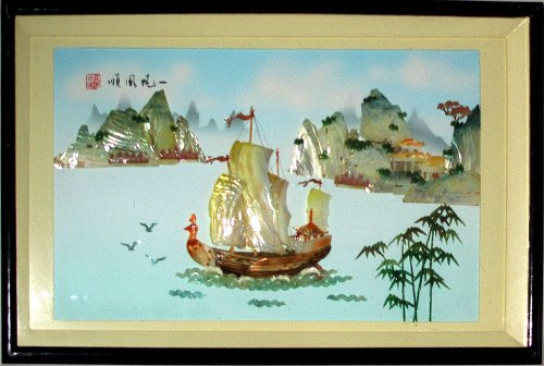 Hand Carved Sea Shells, Mother of Pearl Inlay Art Chinese Landscape 20 X31 Inches