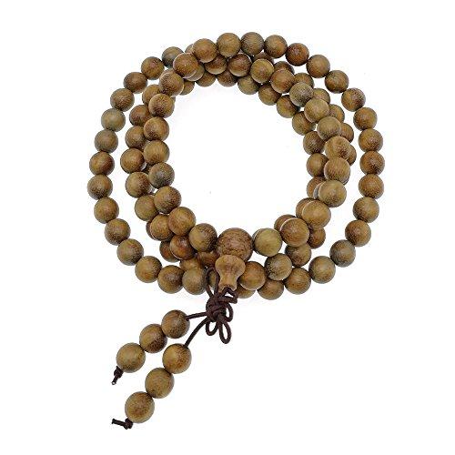 (HAPPEACE 6mm Natural Fragrant Green Sandalwood 108 Mala Beads - Tibetan Buddhism Prayer Beads)