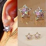 Bingirl 1 Pair New Fashion Women Lady Cute Star Crystal Rhinestone Ear Stud Earrings