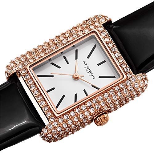 Akribos Swarovski Crystal & Diamond Accented Leather Strap Women's Rectangle Watch Packed in a Beautiful Gift Box AK1068 ()