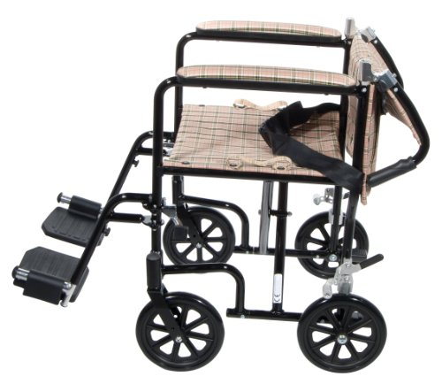 Drive Medical FW19DB Fly-Weight Transport Chair, 19 Inch, Tan Plaid by Drive Medical (Image #3)