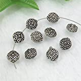 GEM-inside Coin Flat Bali Style Metal Antique Tibetan Silver Findings Spacer Beads Charms 6x11mm Hole 1.2mm