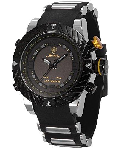 Shark Men's Digital Date Day Alarm LED Black Rubber Waterproof Sport Quartz Wrist Watch SH168