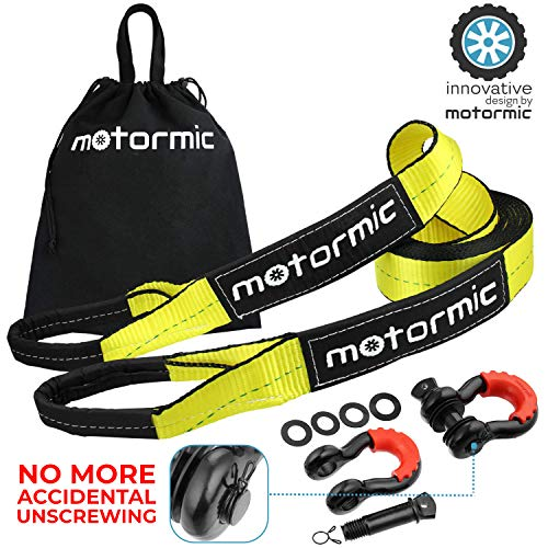 (motormic Tow Strap Recovery Kit - 20 ft x 3 in (30,000 lbs.) Tow Rope + 3/4
