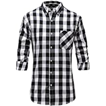 Emiqude mens casual slim fit long sleeve solid basic business dress shirt