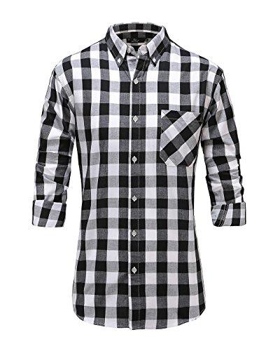 Plaid Shirt Sleeve Long Dress (Emiqude Men's 100% Cotton Slim Fit Long Sleeve Plaid Button Down Dress Shirt Medium Black White)