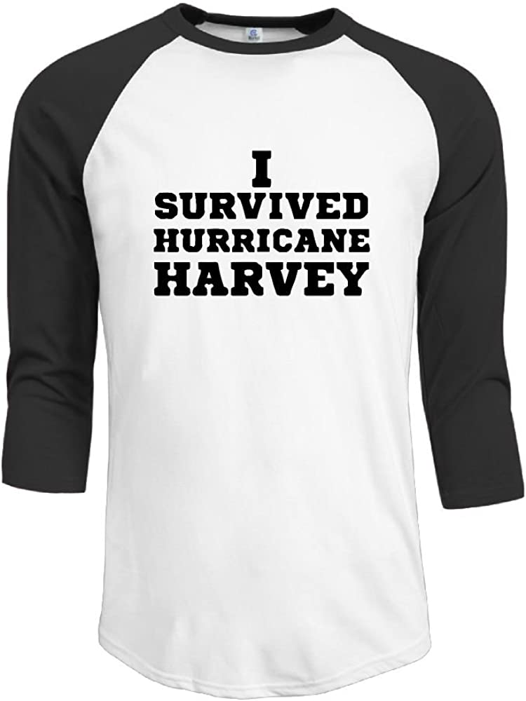I Survived Hurricane Harvey Mens 3/4 Sleeves Raglan T Shirts Slim Fit Sports Uniforms