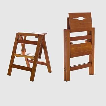 RMJAI Escalera plegable de múltiples funciones para el hogar de madera maciza Escalera de escalada interior para interiores móvil Escalera de cuatro pasos de doble uso Escalera para subir taburetes 38: Amazon.es: