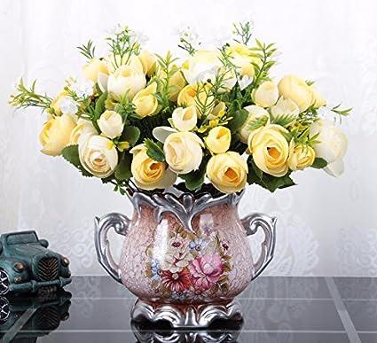allium et lavande Pot de fleurs artificielles fun/éraire comm/émoratif avec roses jaunes