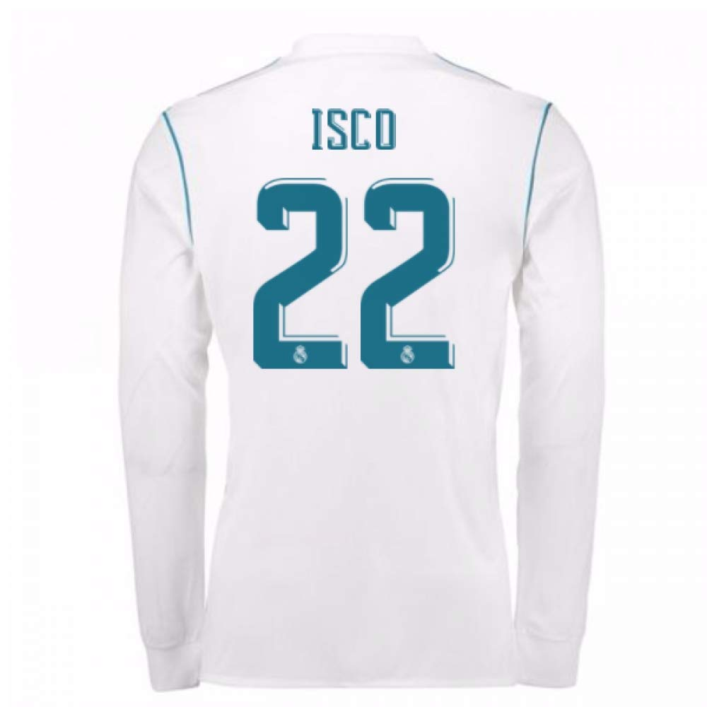 604dbb782a0 Amazon.com : 2017-18 Real Madrid Long Sleeve Home Football Soccer T-Shirt  Jersey - Kids (ISCO 22) : Sports & Outdoors