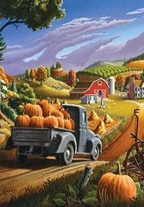 Pumpkin Harvest - Standard Size 28 Inch X 40 Inch Decorative Flag