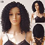 S-noilite 16'' Short Deep Curly Lace Front Wig Black Women Party Dress Glueless Synthetic Fluffy Wavy BOB Hair Wigs Heat Resistant (16inch, 1B-Natural Black)