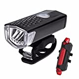 newEmergingstyle MTB Bike Bicycle LED Lights USB Rechargeable Head Front Light & Rear Tail Lamp Set (black & red) For Sale