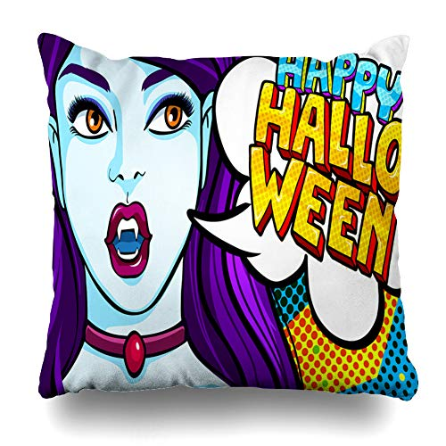 Decorativepillows Case Throw Pillows Covers for Couch/Bed 18 x 18 inch, Halloween Girl Black Happy Pop Art Style Home Sofa Cushion Cover Pillowcase Gift Bed Car Living -