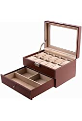 SONGMICS Brown Leather 10 Watch Box Jewelry Display Drawer Glass Top Lockable Watch Case UJWB007