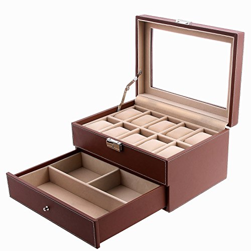 SONGMICS Brown 10 Watch Box Faux Leather Jewelry Display Drawer Glass Top Lockable Watch Case UJWB007