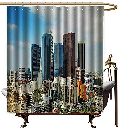 """shower curtains for bathroom with sayings Apartment Decor Collection,Los Angeles Cityscape on a Sunny Day Colorful Office Buildings Streets Scene,Orange Blue Brown,W69"""" x L90"""",shower curtain for girls"""